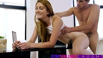 almost busted fucking her step brother