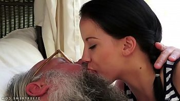 old and young kissing